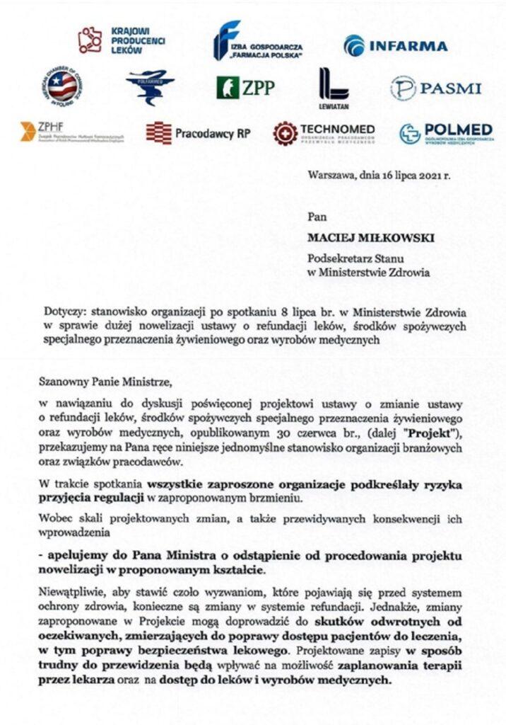 List organizacji do Macieja Milkowskiego ws nowelizacji ustawy o refundacji lekow _1