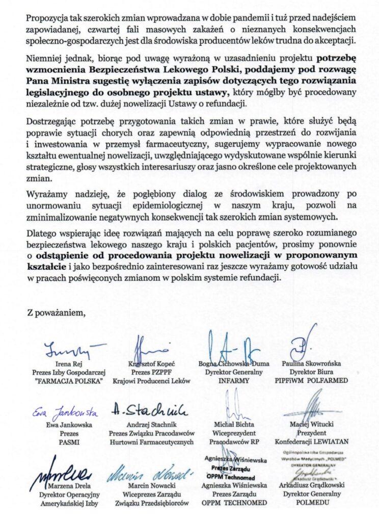 List organizacji do Macieja Milkowskiego ws nowelizacji ustawy o refundacji lekow _2
